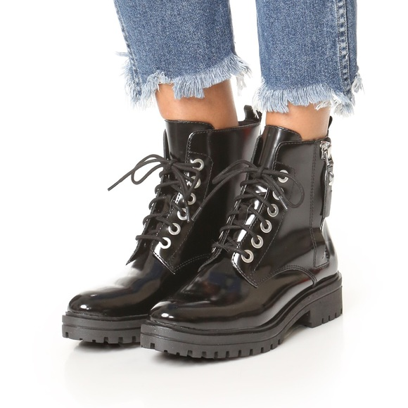 0a1874ade Kendall & Kylie Shoes | Kendall Kylie Patent Black Combat Booties ...